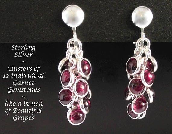 Clip On Earrings: 12 Dangling Garnet Gemstones in Sterling Silver - simply stunning - find at https://www.etsy.com/shop/EarringsArtisan #cliponearrings #earrings #silverearrings #gemstone earrings #garnet #chandelierearrings