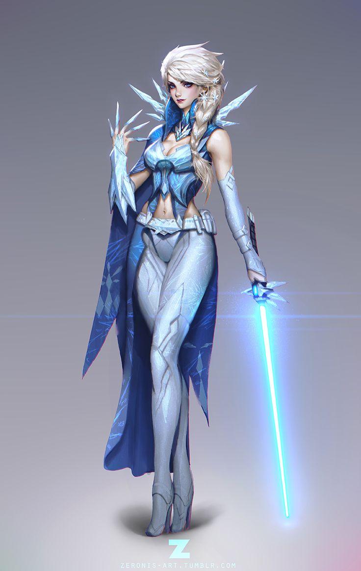 Frozen Elsa Jedi 01 by ZeroNis, Disney Digital Painting Fan Art, Star Wars Character, Illustration, Mashup, Inspirational Art