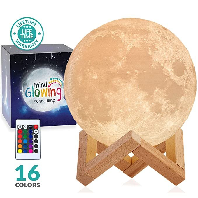 Amazon Com 3d Moon Lamp Rechargeable Night Light 16 Led Colors Dimmable Standard 4 7in With Wooden Stand Remote To In 2020 Led Color Night Light Wooden Stand