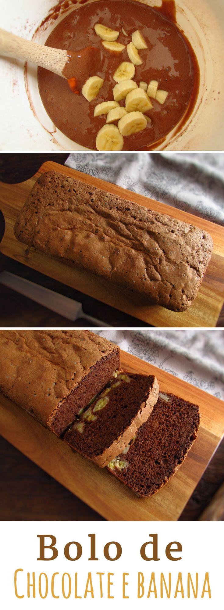 Bolo de chocolate e banana | Food From Portugal. Vai receber amigos em casa e quer preparar um bolo delicioso e especial? Experimente este bolo de chocolate e banana que tem uma combinação de sabores perfeita!!! Bom apetite!! #receita #bolo #chocolate #banana