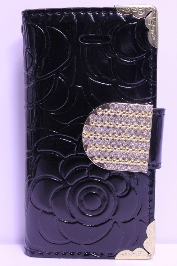 Black Flower Engraved Design With Gold Rhinestone Strap Diary Wallet Phone Case | Color Option Available