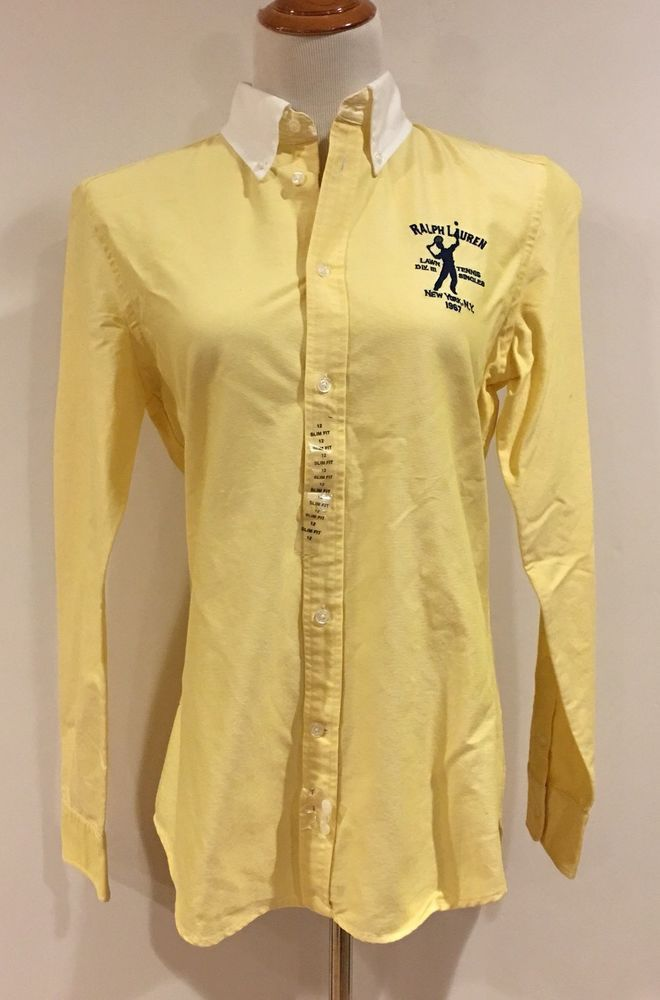 Ralph Lauren Women's 12 Slim NY Lawn Tennis 1967 Singles Crisp Yellow Shirt $125  | eBay