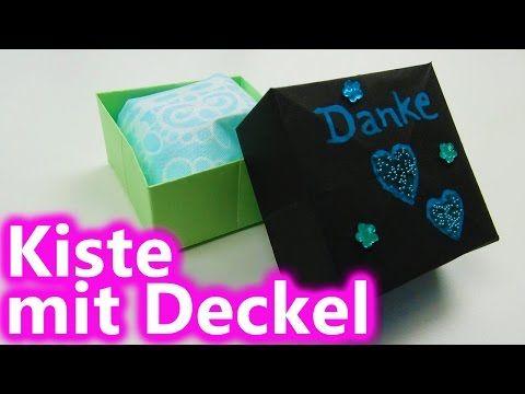 Schachtel mit Deckel basteln mit Papier - Origami Box falten - Basteln Ideen - YouTube