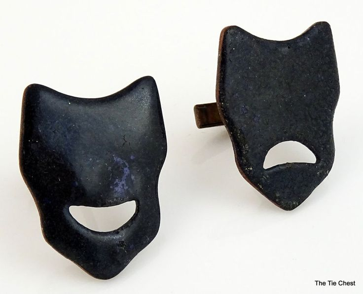 Awesome pair of enamel over copper cufflinks - notice one mouth is happy, the other one is sad! Vintage Enamel Over Copper Cufflinks of Drama Theater Masks | The Tie Chest