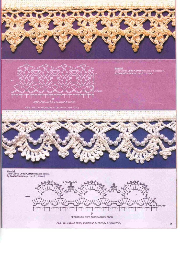 Charts for Crochet Edgings with bead accents!! (no instructions) http://www.mervedinger.com