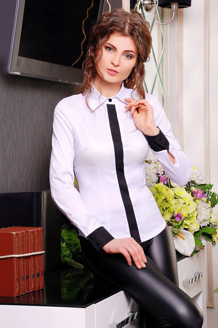блуза Ледис2 д/р. Цвет: белый-черная отделка