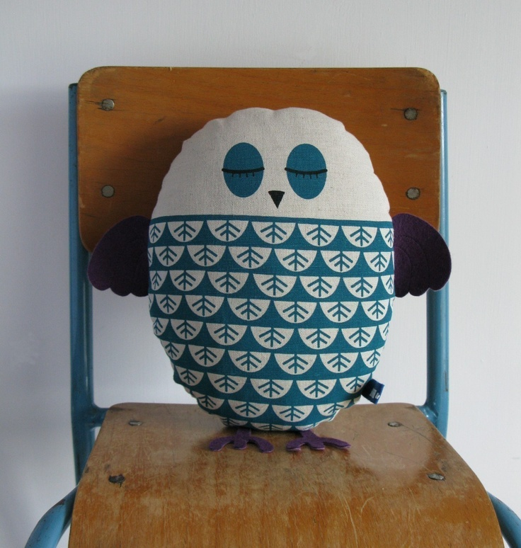 This little fella lives in Noah's room.  He loves him! Another amazing Robin and Mould cushion.Hand Screen Printed Owl in Teal.