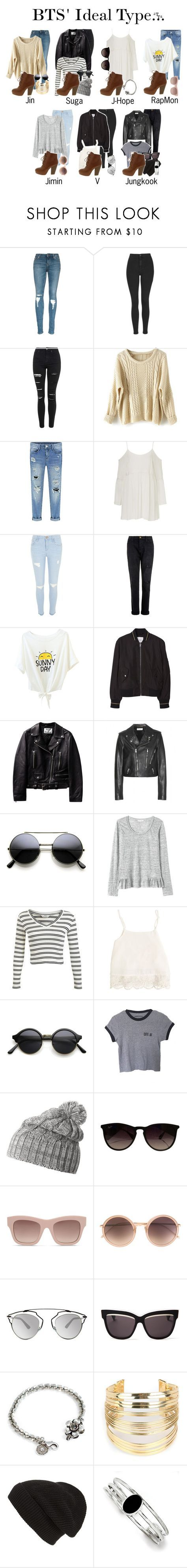 """BTS' ideal type wearing Whiskey Lace Up Ankle Boots"" by triple-threat36 ❤ liked on Polyvore featuring Topshop, River Island, Current/Elliott, MANGO, Yves Saint Laurent, Rebecca Taylor, Miss Selfridge, Swell, Helly Hansen and Ray-Ban"