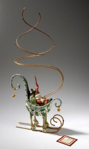 Patience Brewster Krinkles Dash Away Santa Sleigh Mini Ornament Display Tree | eBay