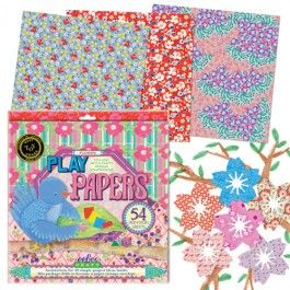 Vintage Floral Patterned Paper. Perfect for creating valentines, collages, origami, and more. From Bella Luna Toys.Paper Flower