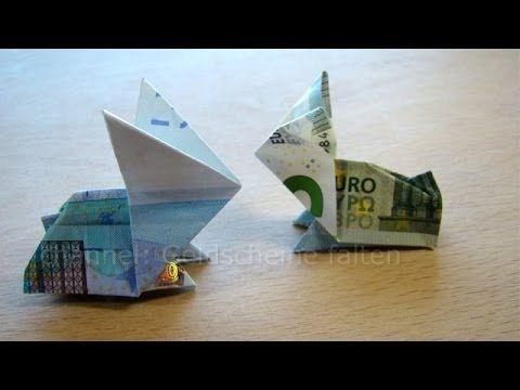 Geldscheine falten Osterhasen - Geldgeschenke basteln - Geld falten Hase - YouTube