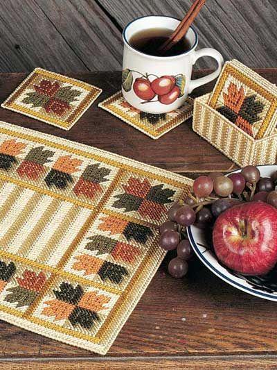 Plastic Canvas - Holiday & Seasonal Patterns - Autumn Patterns - Falling Leaves Table Set