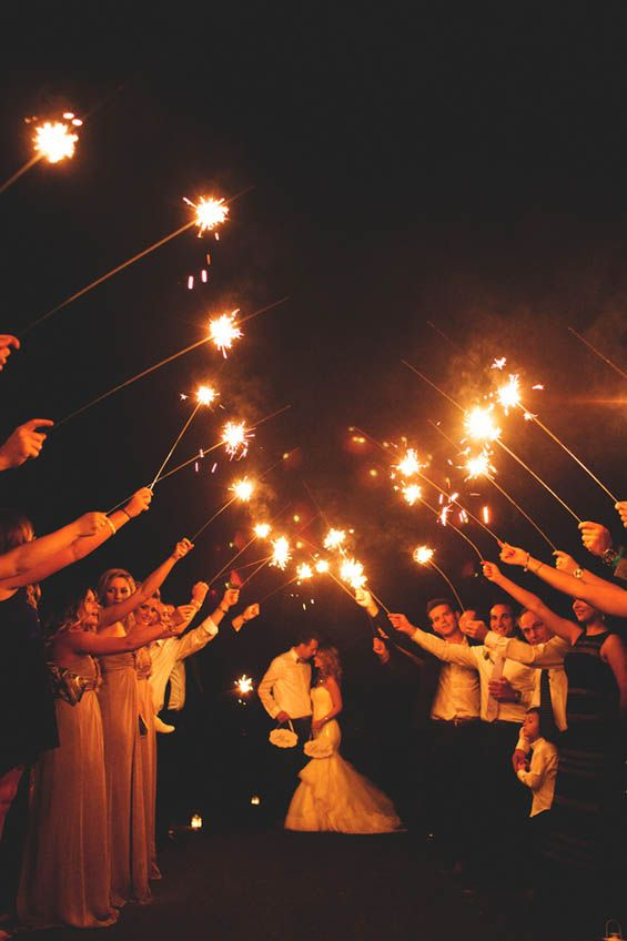 This sparkler send off is SO romantic!