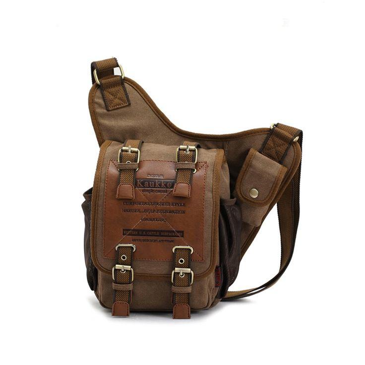 S-ZONE Mens Boys Vintage Canvas Leather Shoulder Military Patchwork Messenger Bags Sling Push Pack Belt Pouch Travel Camera Money Utility Bag Waist Bum Back Pack Versipack