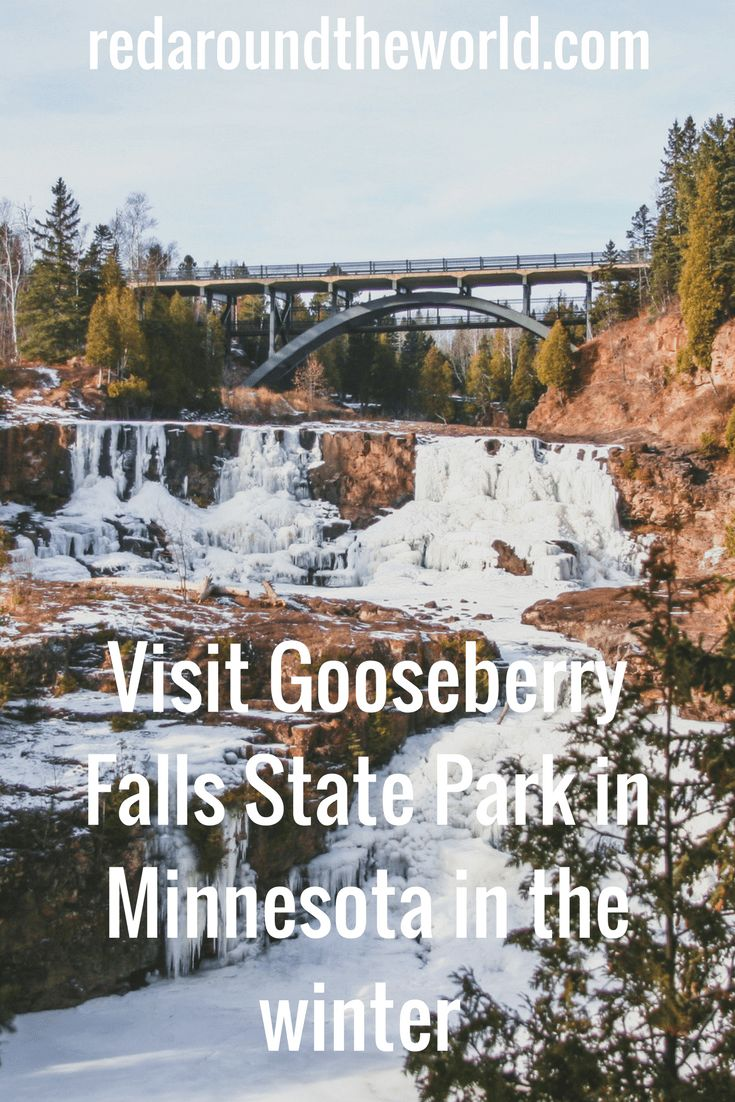 Gooseberry Falls State Park is a great day trip from Duluth, Minnesota any time of year.  In the winter Gooseberry Falls is frozen and perfect for snowshoeing.