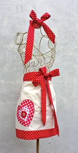 CHRISTMAS HALF APRON Pretty Heart Red Polka by VintageFromChris
