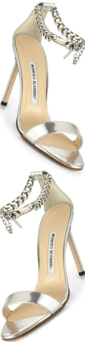 Manolo Blahnik Chaos Metallic Leather AnkleChain Sandals silver