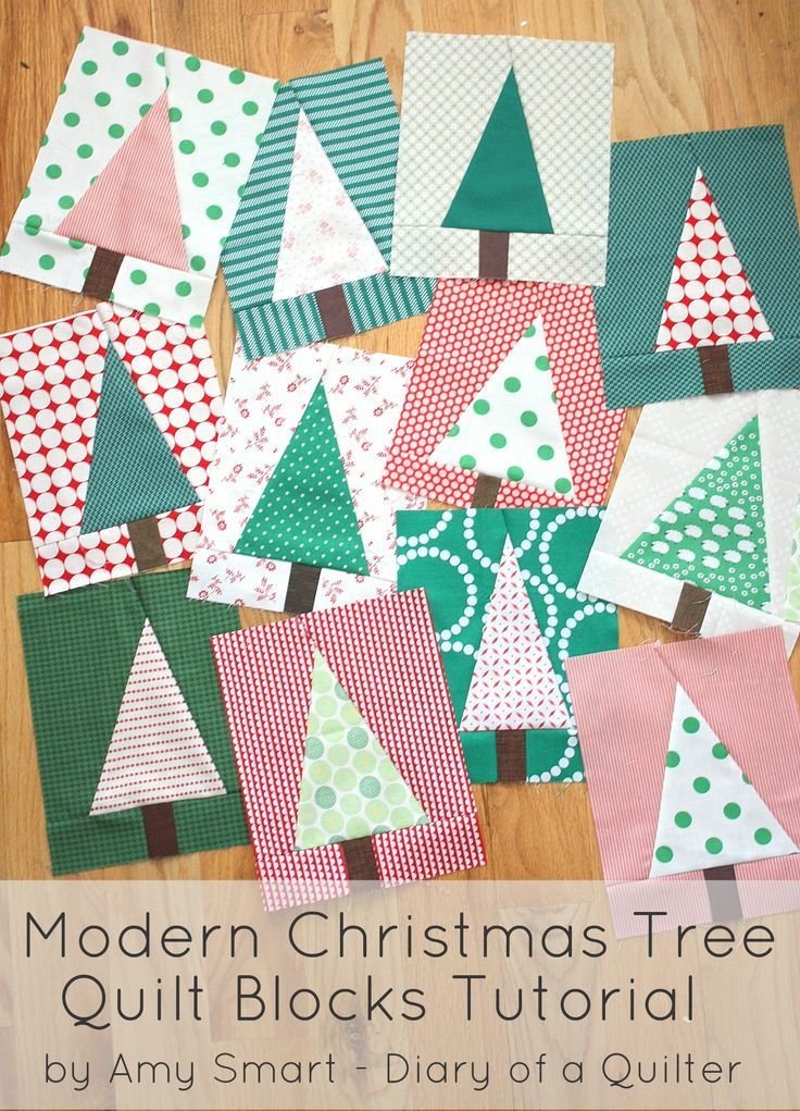 """Updated for 2015! 7x9"""" blocks. How to make a modern looking Christmas tree quilt block. Great project for using up fabric and playing with scraps. Also tips for choosing fabric."""