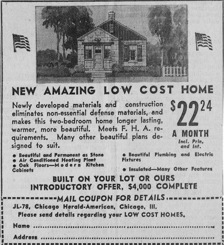 1945 Chicago Tribune Ad for New Amazing Low Cost Home.  Charlie Sprinkle, Living History of Illinois and Chicago