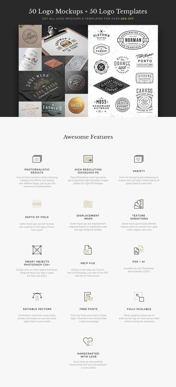 50 Logo Mock-ups + 50 Logo Templates by GraphicBurger on @creativemarket