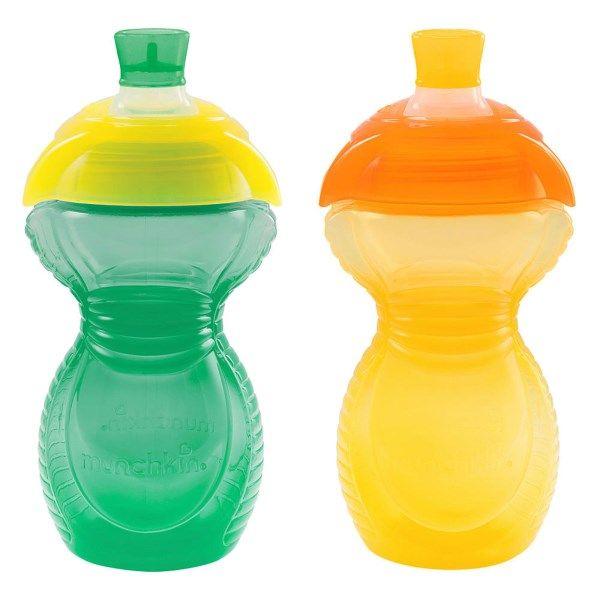Munchkin, Усиленная цветная лента, выдерживающая кусание, чашки для сосания, от 9 месяцев, 2 в упаковке, 9 унций (266 мл) каждая