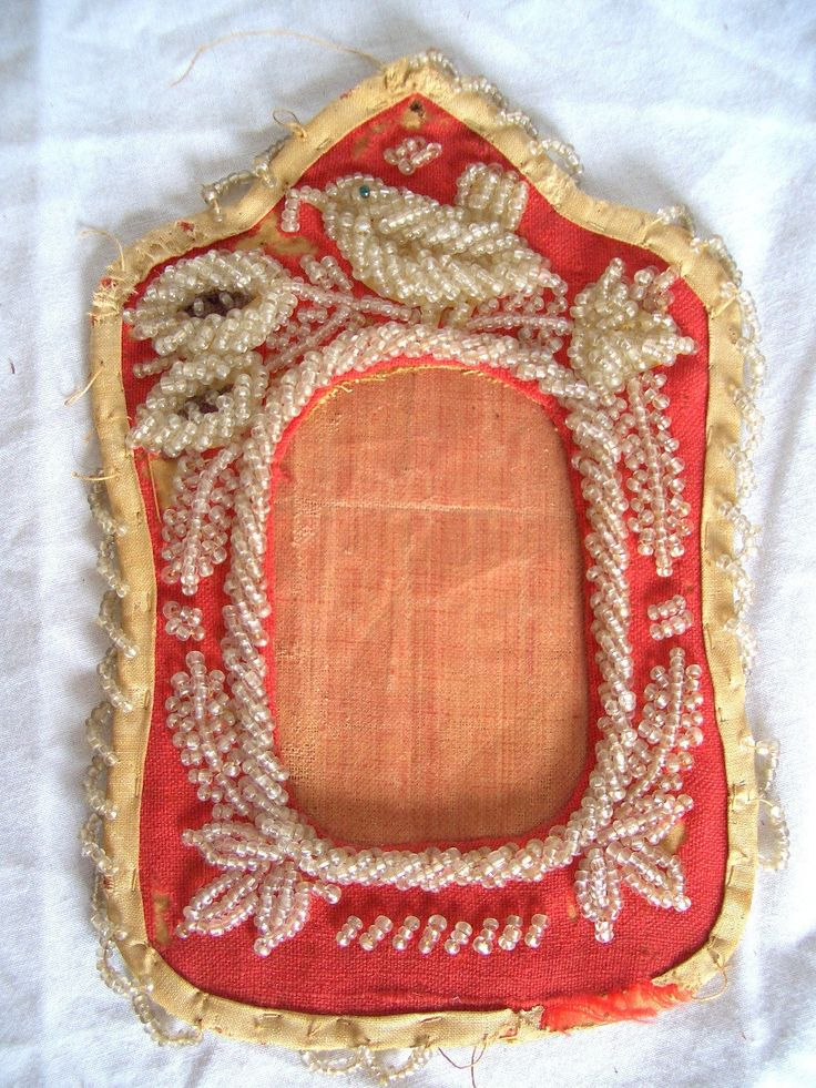 beaded fabric picture frame antique native american iroquois ebay