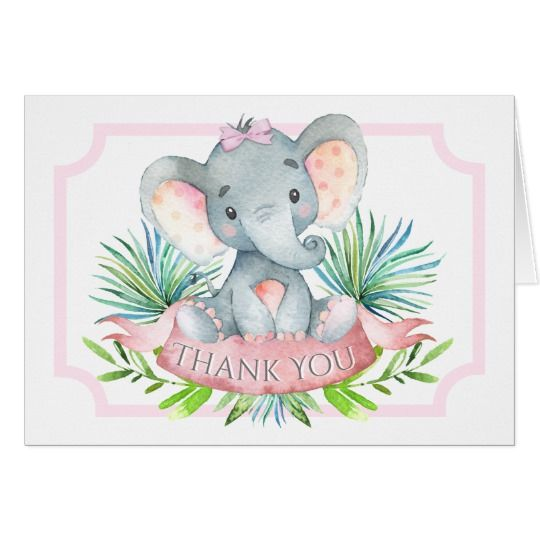 f83bd0c7f6f Girl Elephant Baby Shower Thank You Cards   Zazzle.com   Baby Shower ...