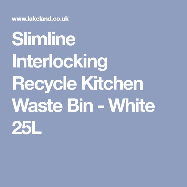 Slimline Interlocking Recycle Kitchen Waste Bin - White 25L