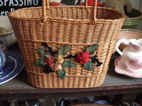 Vintage Wicker Handbag With Handles and Sewn On by brokenartmaker