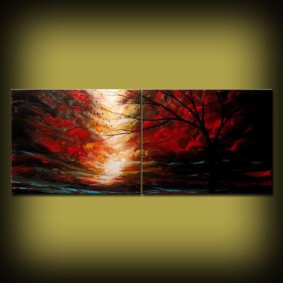 Pintura sobre lienzo arte atardecer surrealista arte