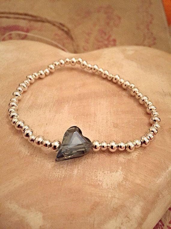 Silver Plated Crystal Glass Heart Beaded by Alwaysbethemermaid
