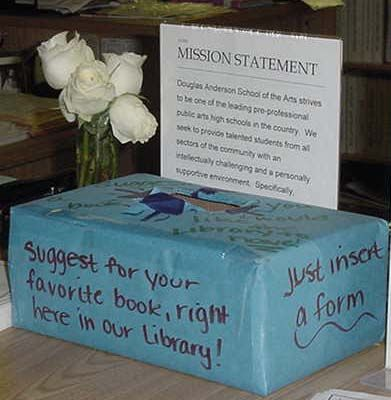 Create a library suggestion box! This encourages students not only to share their favorite books, but also share their ideas about what they would like to have in the library