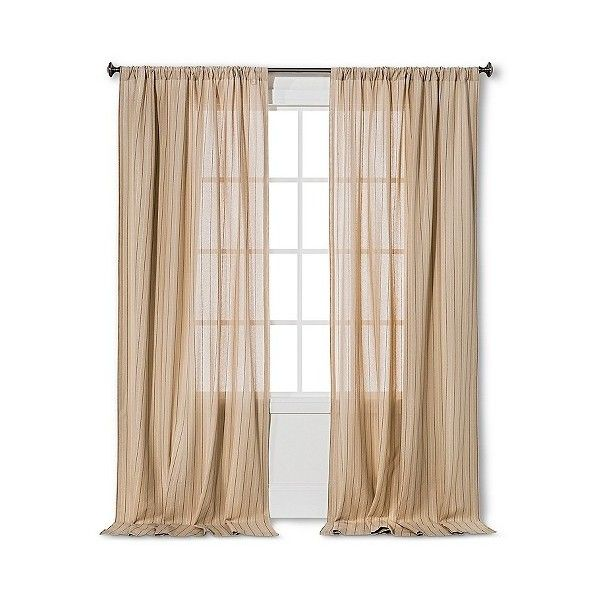 Nate Berkus Curtain Panel Pinstripe - Soft Taupe ($35) ❤ liked on Polyvore featuring home, home decor, window treatments, curtains, almond cream, sheer valances, striped curtains, striped curtain panels, target sheer curtains and beige sheer curtains