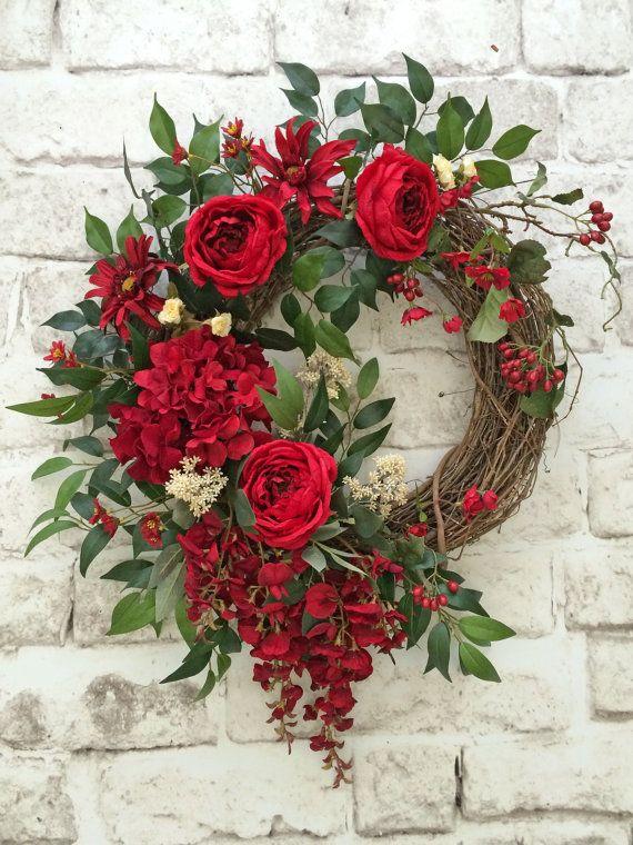Red Silk Floral Wreath, Red Summer Wreath for Door, Front Door Wreath, Summer…