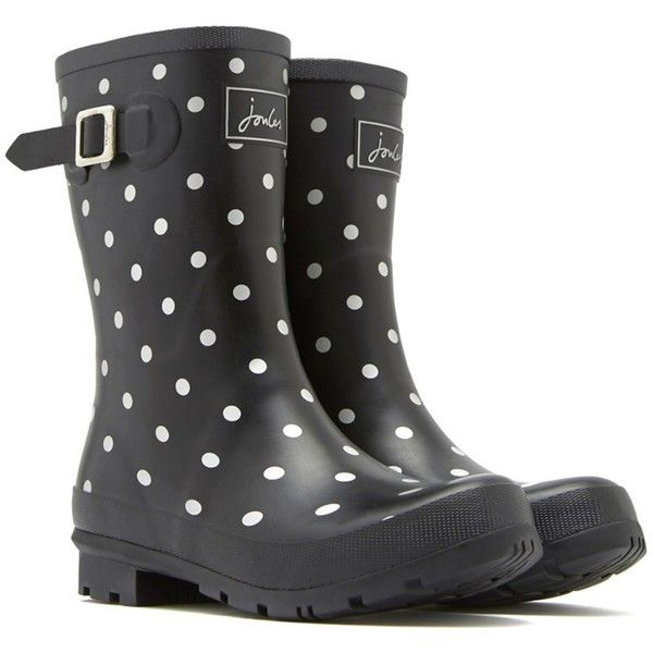 Joules Joules Printed Short Molly Welly Rain Boot | Bluefly.Com (180 MYR) ❤ liked on Polyvore featuring shoes, boots, mid-calf boots, silver, rubber boots, rain boots, short shoes and wellies boots