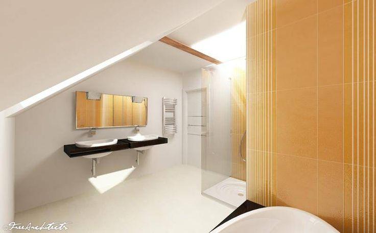 Návrh moderní barevné koupelny v podkroví