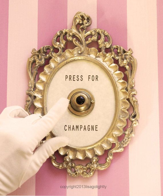 Press For Champagne Framed Vintage Button  silent by lisagolightly