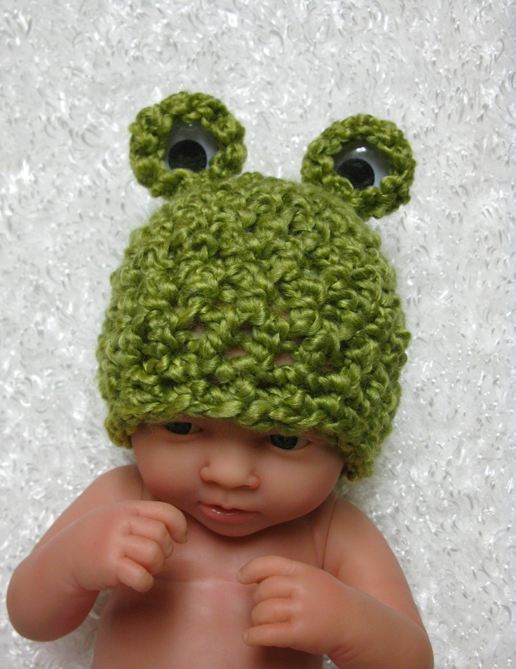 Halloween Newborn Baby Frog Hat in Green. $28.00, via Etsy.