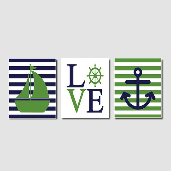 Nautical Wall Art Sailboat Love Captains Wheel Anchor Ocean Navy Green Set of 3 Prints Modern Boy Nursery Kid Bathroom Bedroom Decor Picture