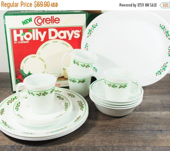 Vintage Corelle Holly Days Dinnerware Set with Tray / Original Box / Christmas Dish Set / Corning Mugs / Platter Dinner Dessert Plates Bowls & 28 best Corelle images on Pinterest | Pyrex Dishes and Christmas ...