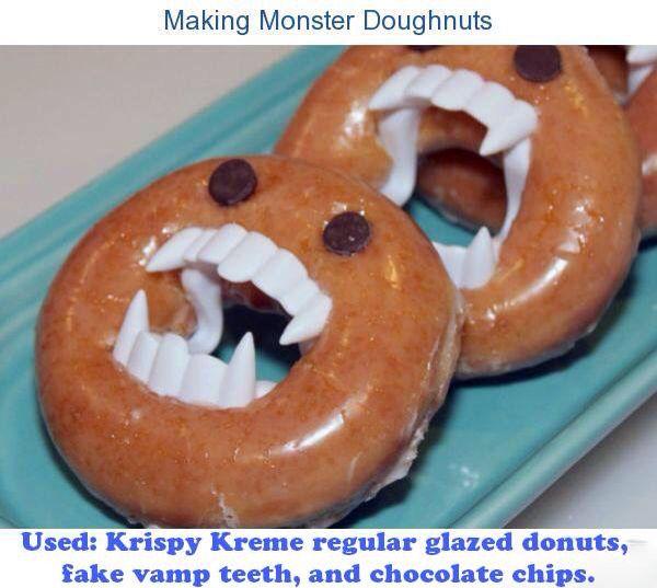 Vampire donuts :) glazed donuts, fake vamp teeth, chocolate chips! Kids can keep the teeth!