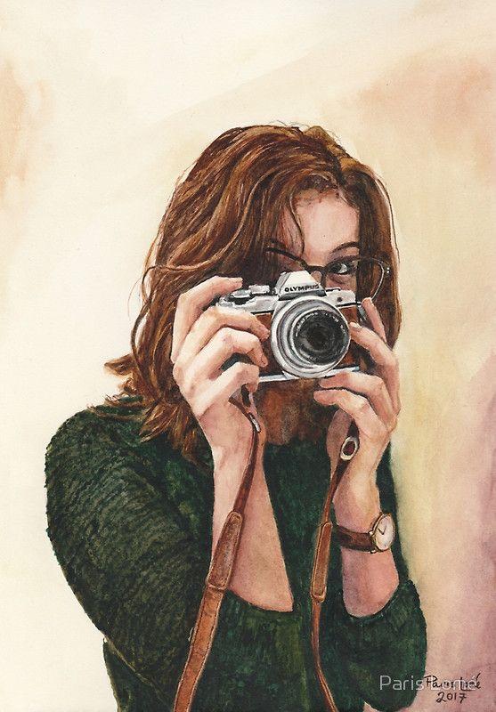 Photographer, watercolour painting by Paris Lomé