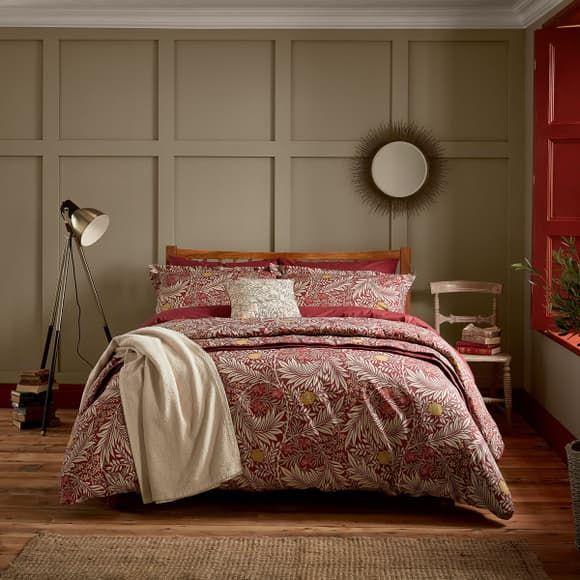 William Morris Larkspur Crimson Large Fine Bedding Red Bedding Bed Decor