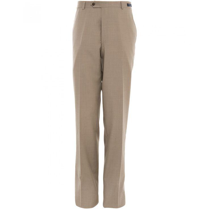 Pantalón Tommy Hilfiger de corte recto con tejido sólido beige bragueta de cierre cinco bolsillos y pespuntes definidos.