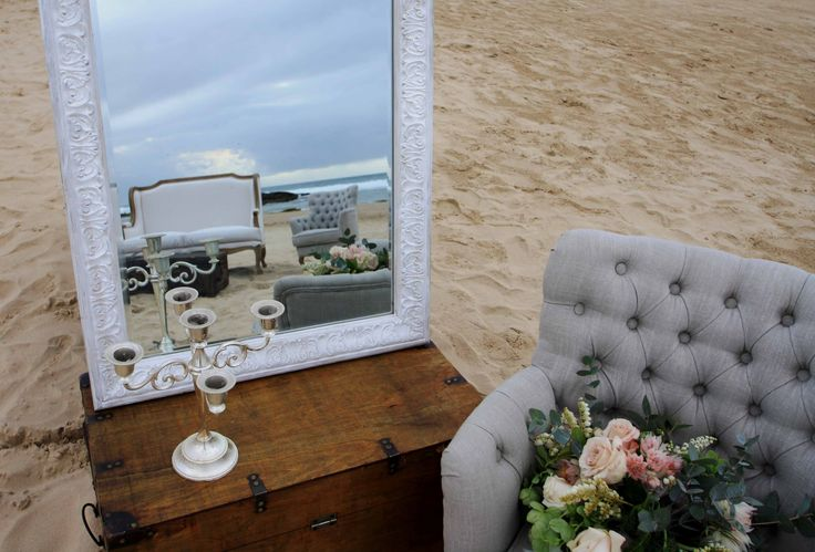 French Furniture, Wooden Trunks - wedding styling by the beautiful ocean at Port Stephens