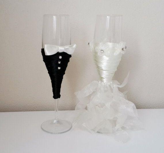 Bride And Groom Wine Glasses Wedding Glasses Wedding by medusa12, $50.00