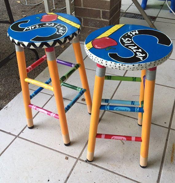 Teacher theme stool.  Custom painted stool . by LaurisStore