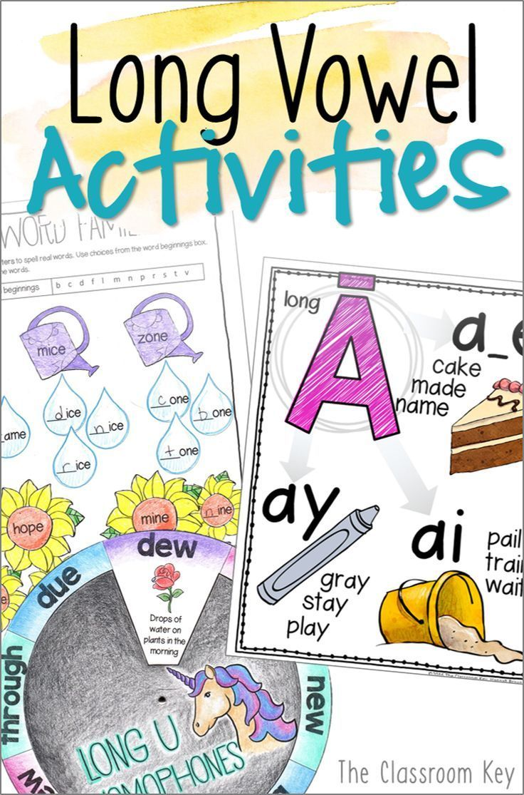 hight resolution of Long Vowel Activities ($) for teaching phonics in 1st