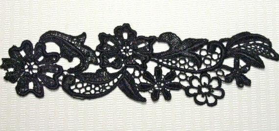 Venice Lace Applique Black Floral Venise Motif Great for Crazy Quilting Gothic Steampunk #EasyPin