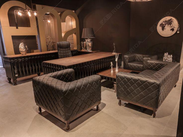 ''inci'' Modeli, hakiki deri, siyah, ofis takımı.
